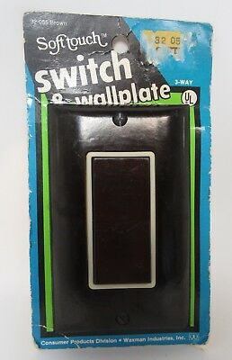 Brown/Ivory Trim Wall Switch Plate Cover & Rocker Outlet Vintage New Old Stock