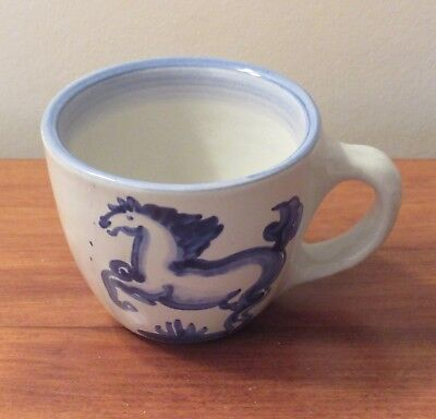 M A Hadley Blue/White Horse Cup, Whoa!, Pre-Owned/Excellent Condition