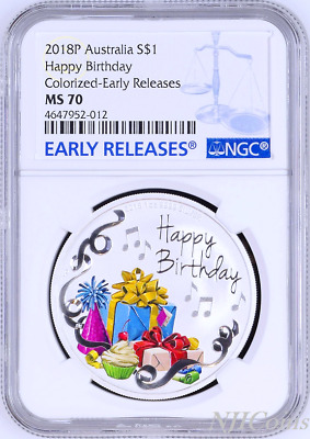 2018 P AUSTRALIA Happy Birthday 1oz SILVER PROOF COIN NGC PF70 UC ER