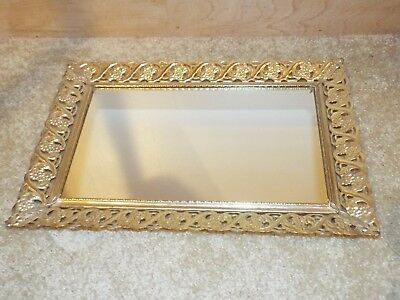 Atq Vintage Ornate Brass Rectangle Gold Filigree Vanity Mirror Felt Bottom Tray
