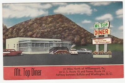 RARE - Orig Postcard - Mt Top  DINER - Early Linen ca 1950 - Cogan Station PA