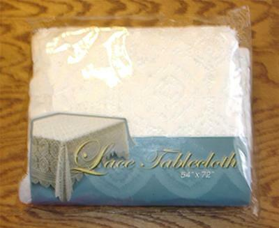 """Lovely Pure White 100% Polyester Lace 54"""" X 72"""" Rectangle Tablecloth-Euc"""