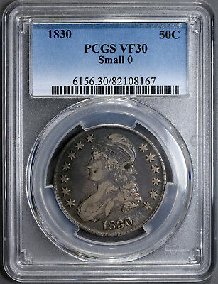 1830 50C Small 0 Capped Bust Half Dollar PCGS VF-30 Certified Very Fine #8167