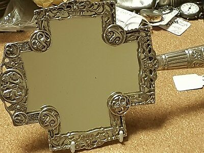 Victorian gothic revival hallmarked silver mirror London 1880. G H maker
