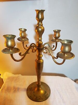 "Vintage SOLID Brass Candelabra 4 Arm 5 Taper Candle Holder 14"" Tall HEAVY! L@@K"