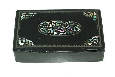 Antique Black Lacquer Snuff Box Abalone Inlay