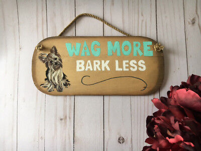Hand Painted Yorkie Yorkshire Terrier Dog Wood Welcome Sign Wall Home Decor