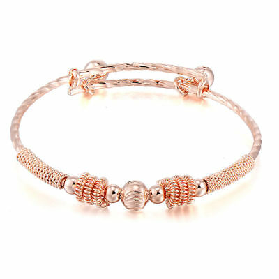 Stunning Childs Rose Gold  Adjustable  With 2 X Bells Bangle-Fit 0-2 Yrs