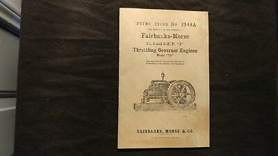Fairbanks Morse Model ZA 1 1/2 3 6 HP Z Throttle Instruction Book Manual 2548A