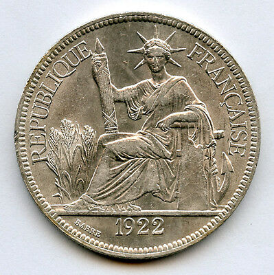 French Indo-China 1922-H Piastre Silver Crown Mint luster Choice UNC.