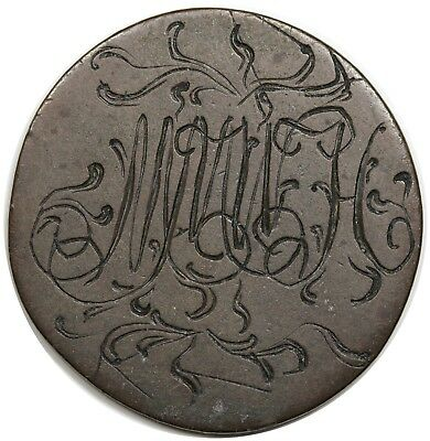 Love token monogram engraving on (c. 1770s) George III Great Britain Halfpenny