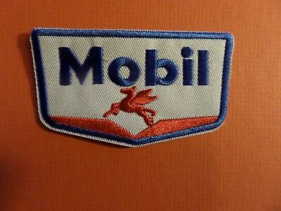 MOBIL OIL blue & white & RED Embroidered 3-1/4 x 1-3/4 Iron On Patch