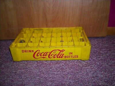 Vintage Hard Plastic Yellow 24 Cell Coca Cola Coke Crate Carrier Tote Caddy
