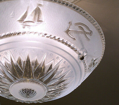 150b Vintage aRT DEco CEILING LIGHT chandelier fixture glass shade blue NAUTICAL