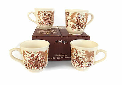 Alfred Meakin FAIR WINDS Set of 4 COFFEE MUGS Don't Give Up the Ship Boxed MINT