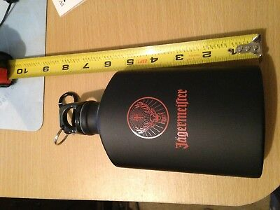 Jagermeister Black Aluminum Water Bottle Flask Canteen Carabiner Clip New Promo