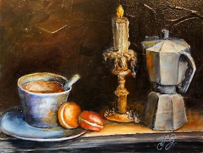 Oil Paintings Original Still Life Candle Coffee French Food Antique Vintage Art