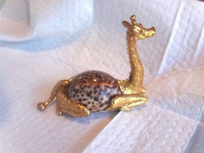 Giraffe Figurine Paper Weight Goldtone with Tiger Seashell Unique Giraffe