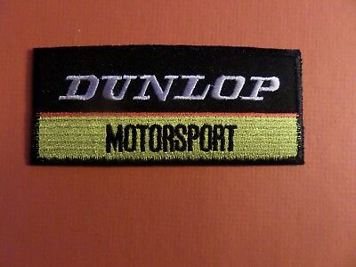 DUNLOP MOTORSPORT yellow & black  Embroidered 1-3/4 x 4-1/4 Iron On Patch