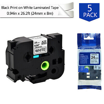 "5PK For Brother P-Touch TZ-251 Black on White Label Tape 24mm TZe-251 1""x26.2ft"