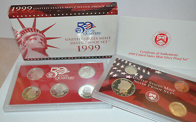 MIB US Mint 1999 *SILVER PROOF SET* 9 Coins GREAT GIFT! Box w/COA United States