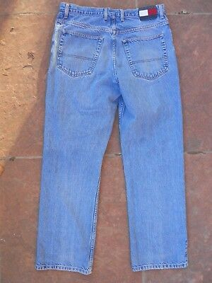 TOMMY HILFIGER Mens Jeans Relaxed VTG 36x34 Well Worn Light 100% Cotton Denim