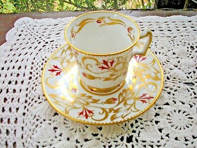 Vintage Royal Chelsea English Bone China Red w/ Heavy Gold HP Teacup Saucer Set