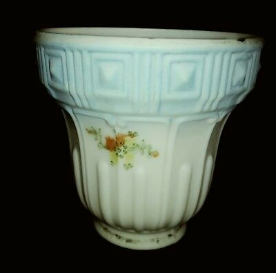 Antique Vintage Frosted Blue Glass Hand Painted Art Deco Lamp Light Shade