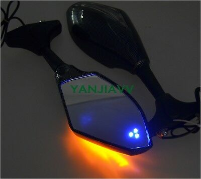 For Yamaha R1 98-01 R6 99-05 R6S 06-09 YZF600R 97-07 LED Turn Rear View Mirrors