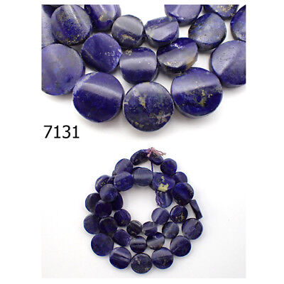 Ancient Egypt Style BRIGHT BLUE Lapis w/Pyrite Carved Coin Bead Strand #7131