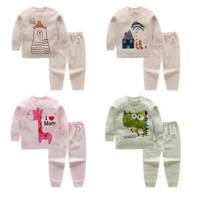 11Pattern Unique Baby Long Sleeve Cartoon Stripped Top+Pants Clothing Set TS #A