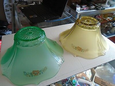 lot of 2 Vintage Antique Art Deco Ceiling Light Shade Globe Cover Fixture