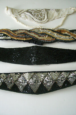 Lot of 4, Vintage 80's Sequin Beaded Glam Belts Satin Lined Gold Black White
