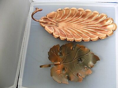 "Lot of (2) Copper Leaf Dish Tray Bowl One about 12"" and one about 9"""