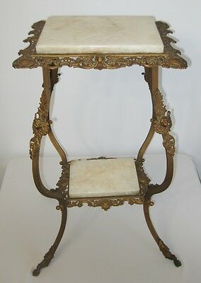 Superb Antique Victorian c.1880's Brass and Marble Plant Stand Table w/ Angels