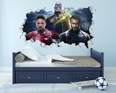 Avengers Infinity War Wall Hole 3D Decal Vinyl Sticker Decor Room Smashed