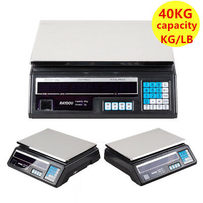 40KG Electronic Digital Scales Weighing Grocery Retail Shop Price Food Scale LB