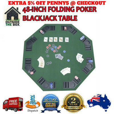 Poker & Blackjack Table Green 2 YEARS WARRANTY New 48 Inch Top 8 Players Folding