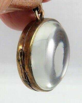 Large Pools of Light Silver Gilt Antique Victorian Locket Pendant Watch Fob