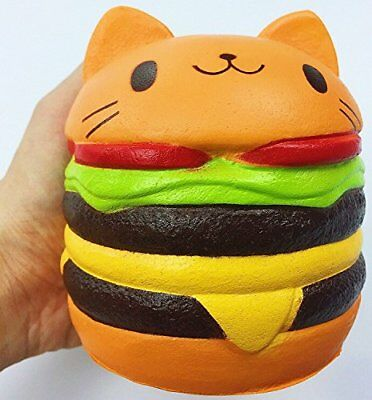 Jumbo Slow Rising squishies Kawaii Cat Hamburger Cream Scented NEW FREE SHIPPING