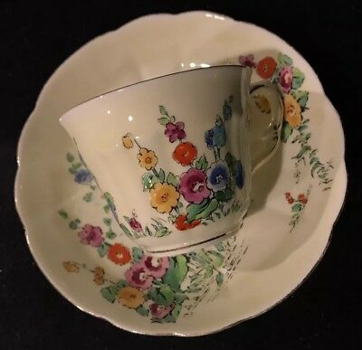 Antique crown staffordshire tea cup and saucer fine bone china England