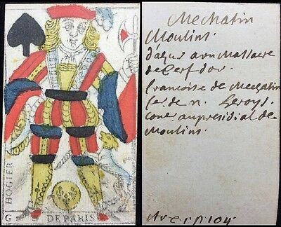 Authentic Historic Playing Cards Single 18th Century Woodcut Colour Document Use