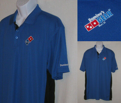 DOMINOS PIZZA size mens 2X worker employee polo golf SHIRT - blue w/ black