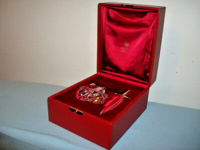 VTG STEUBEN Glass EXCALIBUR 18K GOLD Sword SILVER Crystal  Paperweight Red Box