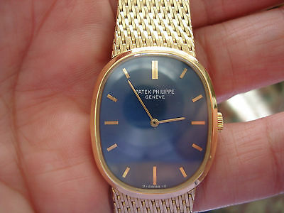 Patek Philippe Golden Ellipse 18k Yellow Gold Blue Dial Watch For Repair As IS