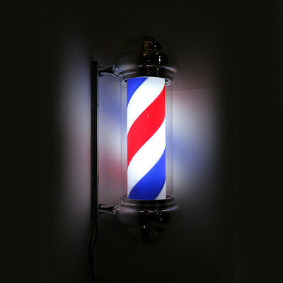 Metal Attractive Barber Pole Romantic LED Light Red White Blue Stripes Rotating
