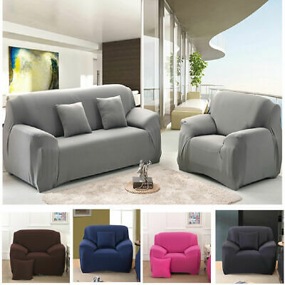 Solid Modern Stretch Chair Sofa Cover 1 2 3 4 Seater Couch Elastic Slipcover US