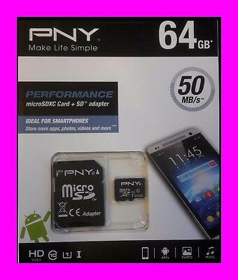 Pny Performance 64 Gb Micro Sd-Karte Inkl. Adapter - Class 10 - 50 Mb/s