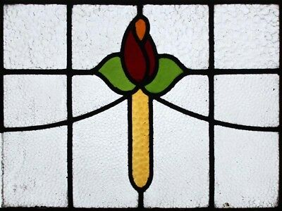 Art Deco English Rose Antique Stained Glass Window