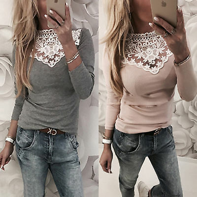 Women Sexy Solid Lace Cold Shoulder Long Sleeve Slim Blouse Top T-Shirt